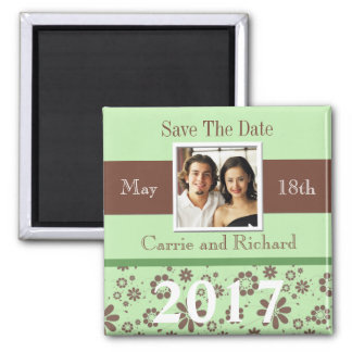 Wedding Save The Date Green Brown 2017 Photo Magnet