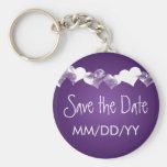 Wedding Save The Date Grunge Hearts Purple Keychains