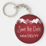 Wedding Save The Date Grunge Hearts Red Keychains