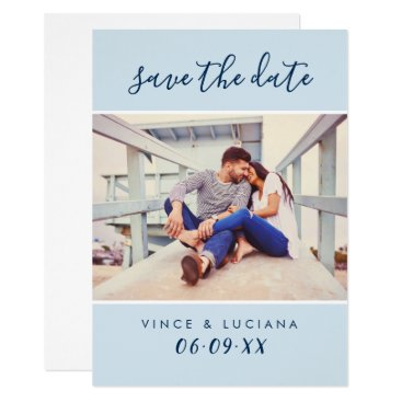 Beach Themed Wedding Save the Date | Hand Lettered Script Card