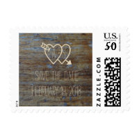 Wedding Save the Date Hearts with Initials on Wood Postage