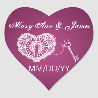 Wedding Save The Date Key To My Heart Pink Berry Heart Sticker