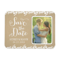 Wedding Save the Date | Lace and Kraft Rectangle Magnet