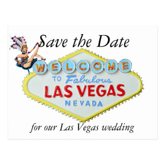 Wedding Save the Date Las Vegas  Sign and Showgirl Postcard