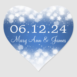 Wedding Save The Date Magic Sparkle Blue Heart Sticker