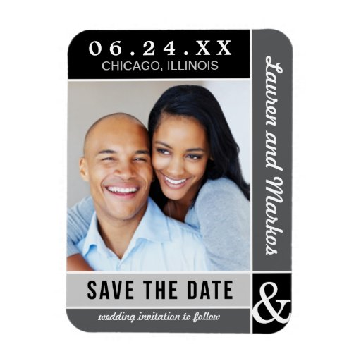 Wedding Save the Date Magnet | Gray Colorblock
