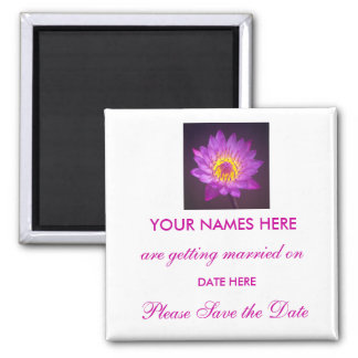 Wedding Save The Date Magnet - lotus flower