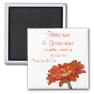 Wedding Save The Date Magnet Orange Daisy Gerbera