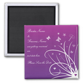 Wedding Save The Date Magnet - Purple Butterfly