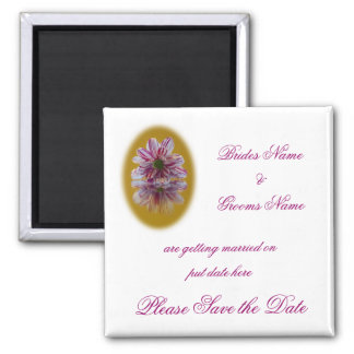 Wedding Save The Date Magnet - Striped Daisy Gerbr