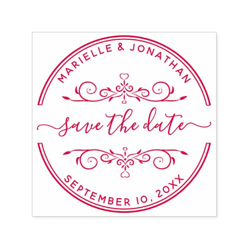 Wedding Save the Date Modern Script Hearts Self_inking Stamp