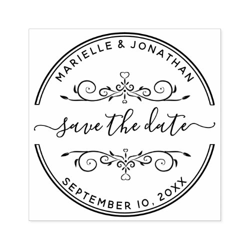 Wedding Save the Date Modern Script Rubber Stamp