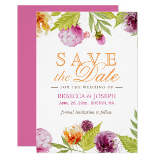 Wedding Save the Date Modern Spring Floral Card