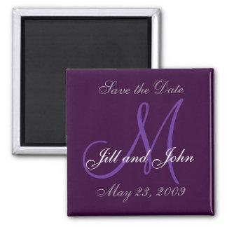 Wedding Save the Date Monogram Purple Magnet