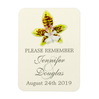 Wedding save the date orchid magnet