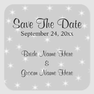 Wedding Save The Date, Pale Gray with White Stars. Square Sticker