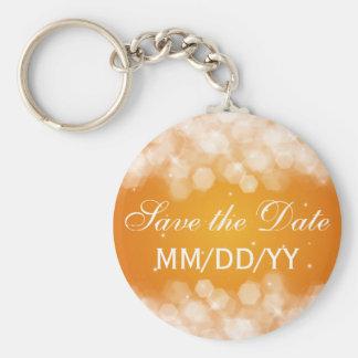 Wedding Save The Date Party Sparkle Orange Keychain
