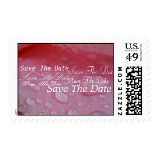 Wedding save the date pink and white stamp