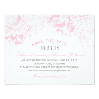 Wedding Save the Date | Pink Floral Peony Design 4.25x5.5 Paper Invitation Card