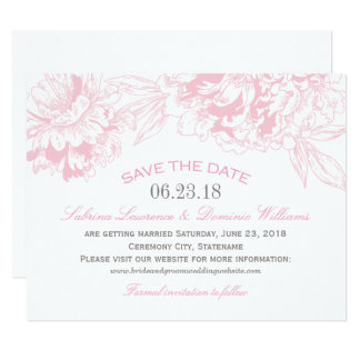 Wedding Save the Date | Pink Floral Peony Design Card