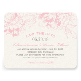 Wedding Save the Date Pink Floral Peony Design Personalized Invite