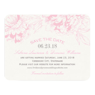 Wedding Save the Date | Pink Floral Peony Design Personalized Invite