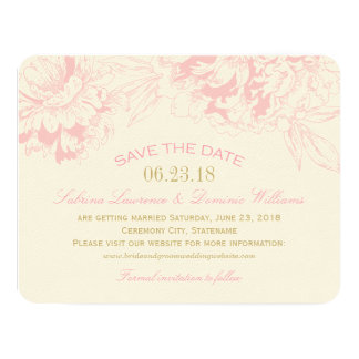 Wedding Save the Date | Pink Floral Peony Design Personalized Announcements