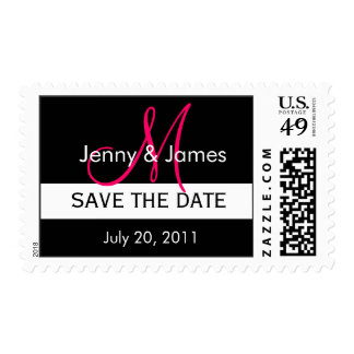 Wedding Save the Date Pink Initial Monogram Stamp