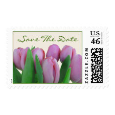 Wedding Save The Date Postage - Pink Tulips
