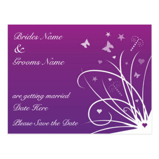 Wedding Save The Date Postcard - Purple butterfly