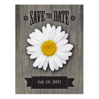 Wedding Save the Date Postcard, Rustic Daisy Postcard