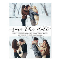 Wedding Save The Date Postcard with Three Pictures