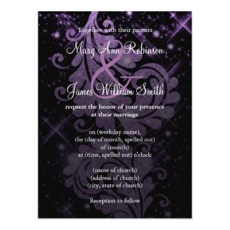 Wedding Save The Date Purple Glitter Floral Swirl Card