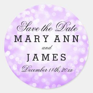 Wedding Save The Date Purple Glitter Lights Round Sticker