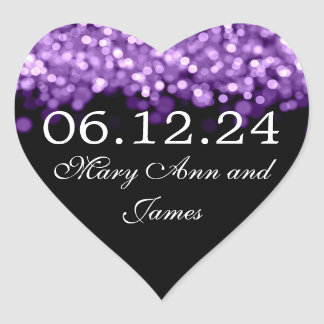 Wedding Save The Date  Purple Lights Heart Sticker