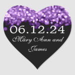 Wedding Save The Date  Purple Lights Heart Stickers