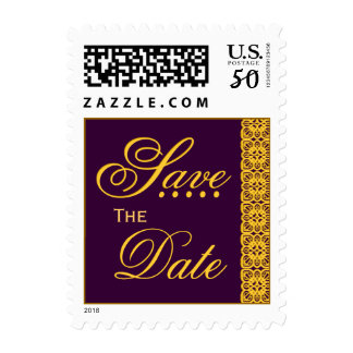 WEDDING - Save the Date PURPLE with GOLD Lace Postage