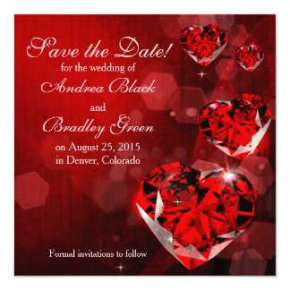 Wedding Save the Date | Red Diamond Heart Card