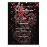 """Wedding Save The Date Red Glitter Floral Swirl 6.5"""" X 8.75"""" Invitation Card"""