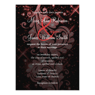 Wedding Save The Date Red Glitter Floral Swirl Custom Announcement