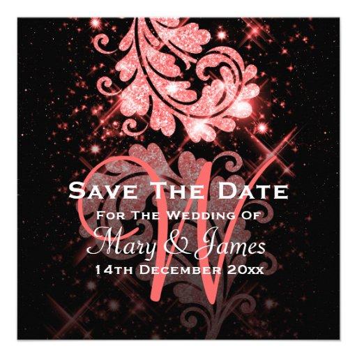 Wedding Save The Date Red Glitter Floral Swirl Custom Invitations