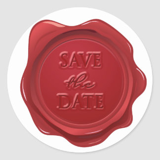 Wedding Save the Date Red Wax Seal Effect
