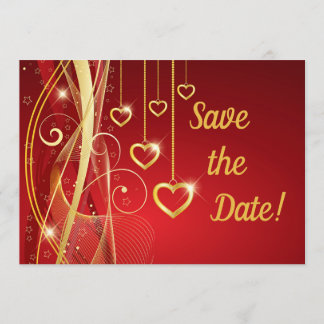 Wedding Save the Date Romantic Red Gold Hearts