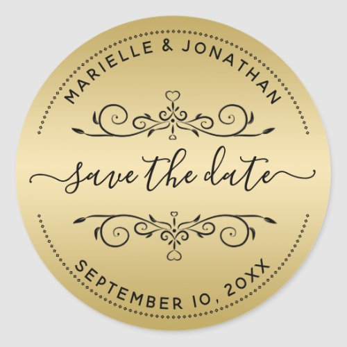 Wedding Save the Date Script Gold Return Address Classic Round Sticker