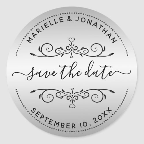 Wedding Save the Date Script Silver Return Address Classic Round Sticker