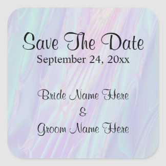 Wedding Save The Date. Seashell Style Pattern. Square Sticker