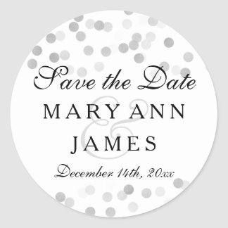 Wedding Save The Date Silver Foil Glitter Lights Classic Round Sticker
