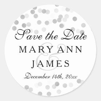 Wedding Save The Date Silver Foil Glitter Lights Round Sticker
