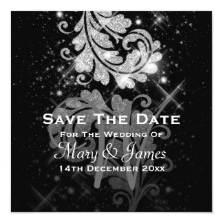 Wedding Save The Date Silver Glitter Floral Swirl Card