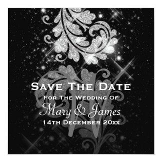 Wedding Save The Date Silver Glitter Floral Swirl Invitation